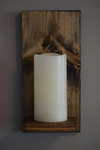 Rustic Wall Candle Sconce, Wood Panel and Shelf with Mounting Hanger, LED Candle with 5 Hour Timer, Real Wax with Realistic Warm Flickering Light (6 Inch Candle Only, Espresso) (Wood Wall Sconces)