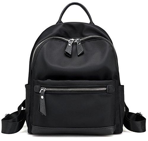 TINGLAN Small Nylon Backpacks for Women or Girls Kids School Bag Fashion Daypack (Black) - Small School Backpack