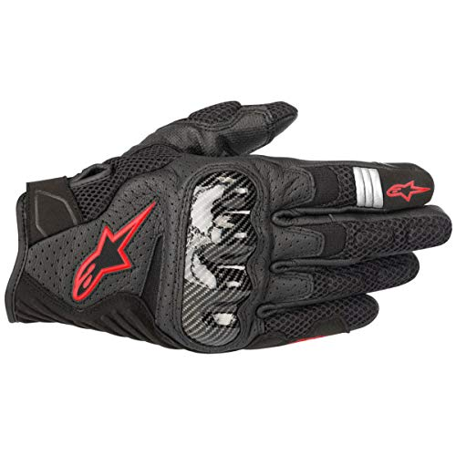 Alpinestars SMX-1 Air V2 Motorcycle Riding/Racing Glove (Large, Black/Fluorecent Red) ()