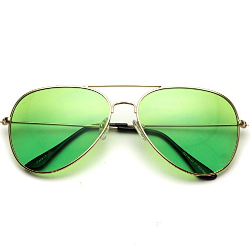 Classic Aviator Style Metal Frame Sunglasses Colored ()