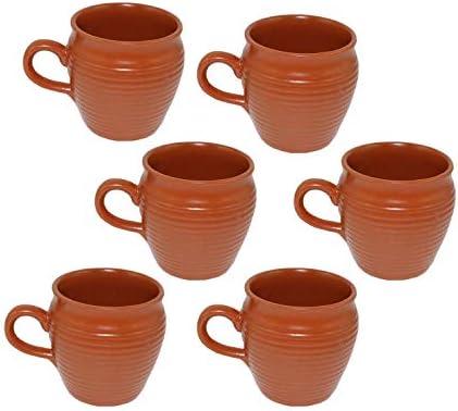Odishabazaar Ceramic Kulhar Cups Traditional Indian Chai Tea Cup Set of 6 Brown