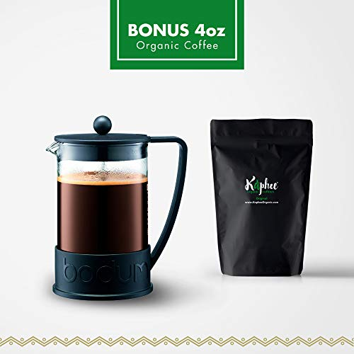 Bodum Brazil French Press Coffee Maker, 51 Ounce, 1.5 Liter, (12 Cup), Black With 4-Ounces Bonus Organic ()