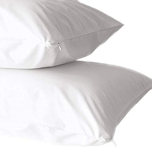 Home Fashion Designs 2 Pack 100% Cotton Percale Allergy control Pillow Protectors. Hypoallergenic Dust Mite Proof Zippered Pillow Covers- Standard