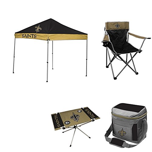 NFL Hall of Fame Tailgate Bundle - New Orleans Saints (1 9X9 Canopy, 4 Kickoff Chairs, 1 16 Can Cooler, 1 Endzone Table) by Rawlings