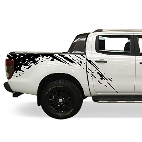 Bubbles Designs Decal Sticker Vinyl Bed Splash Mud Kit Compatible with Ford Ranger T6 2011-2017 (Black)