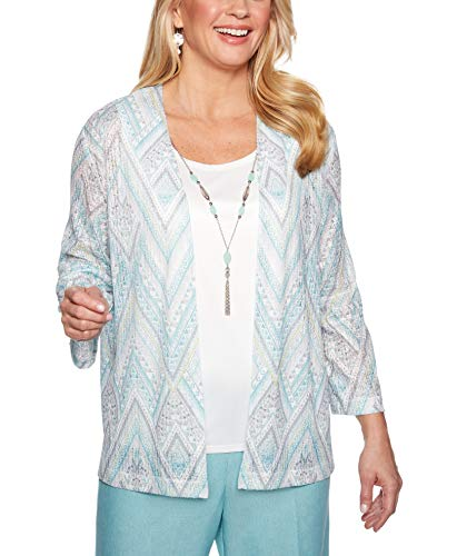 Alfred Dunner Women's Versailles Geometric Two for One Top (Petite X-Large)