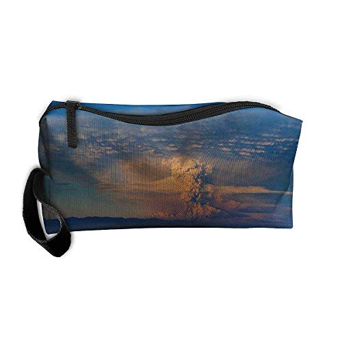 Portable Travel Cosmetic Toiletry Clutch Bag Organizer Case Oxford Volcano Eruption Blue Background Storage Pouch (Volcano Oxford)