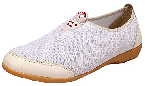 Aisun Women's Comfy Mesh Round Toe Slip On Flats Shoes White