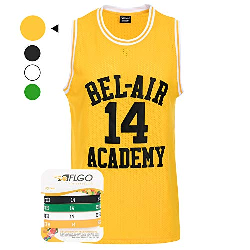 AFLGO The Fresh Prince of Bel Air 14 Academy Jersey Will Smith Include Free Wristbands (Yellow, XL)