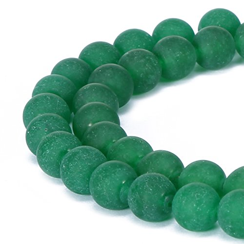 BRCbeads Green Jade Natural Gemstone Loose Beads 8mm Matte Round Crystal Energy Stone Healing Power for Jewelry Making Green Jade Beads Necklace