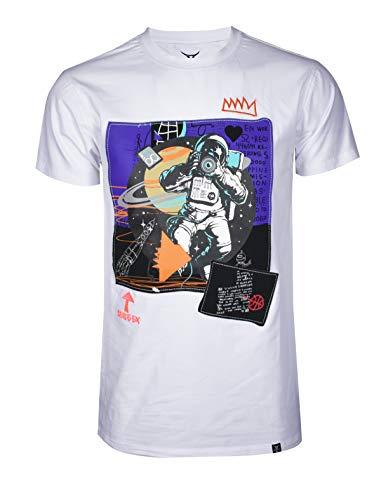 SCREENSHOTBRAND-S11923 Mens Hip-Hop Ultra Premium Tee Space EX Urban Streetwear Graffiti Print T-Shirt-White-Small