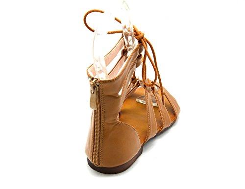 Sandales avec Spartiates Cuir à Ecailles Nu Cheville My Motif Pieds Lacet Simili 40 SHS64 Oh Nouer Camel Uni Shop ou qwc1pOxggt