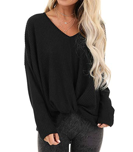 INFITTY Womens V Neck Oversized Sweater Long Sleeve Waffle Knit Shirt Knot Casual Loose Tunic Tops
