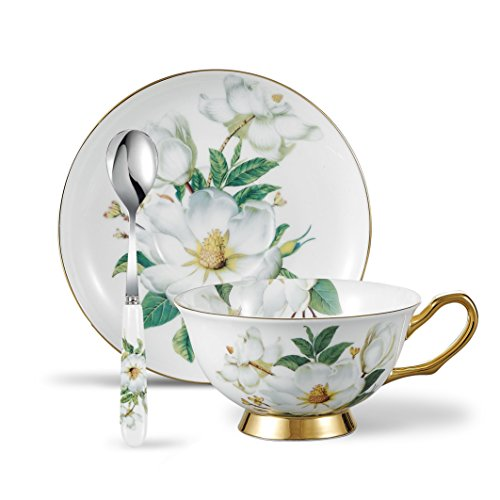 Panbado 3 Piece Bone China Cup and Saucer Set with Spoon, Vintage Porcelain Coffee Cup Set, 200 ml/6.8 oz., Camellia