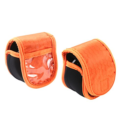 M MAXIMUMCATCH Maxcatch 2 Pieces Fly Fishing Reel Pouch, Neoprene Fly Reel Cover/Case, 3 Color Available (Orange)
