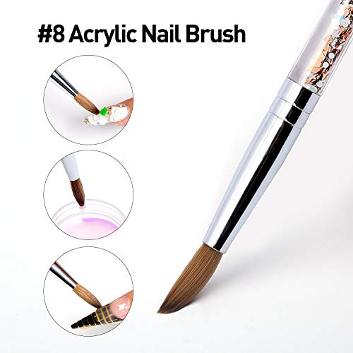Acrylic nail brush for Acrylic Powder Manicure Pedicure 1pcs 100% Kolinsky Sable Acrylic Nails Round Nail Art Brush With  Liquid Glitter Handle #Size 8... (Best Acrylic Brush Brand)