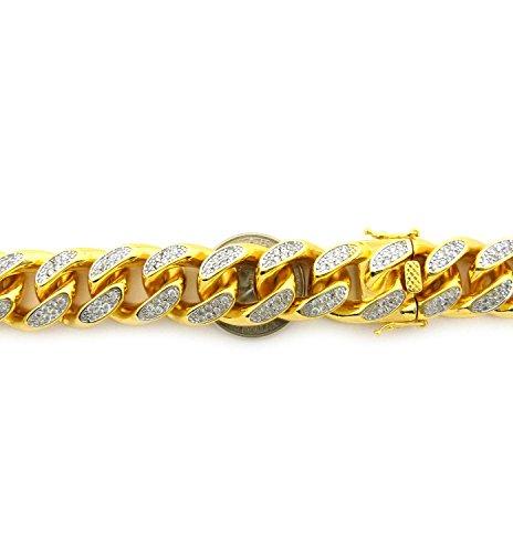 Collier en laiton plaqué or à pierres de Zirconia, fermoir à cliquet, l.19 mm L.76 cm