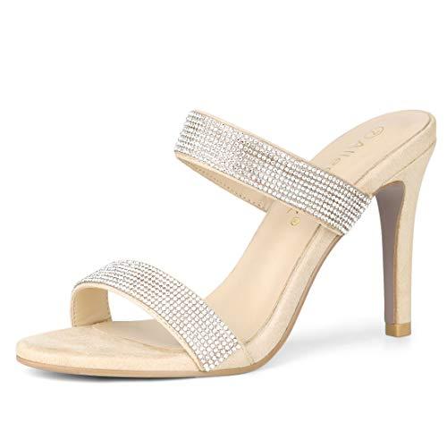 Allegra K Women's Open Toe Stiletto Heel Rhinestone Beige Mules Sandals - 9 M US
