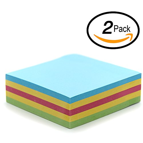 """Sheet Adhesive Note Cube - Emraw 5 Assorted Color Self Stick Note Cube 3""""x3"""" inch – (250 Sheets - 50 of Each Color)"""