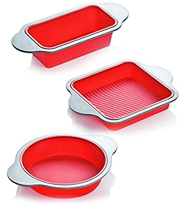 Silicone Bakeware Set | 3-Piece Professional Non-Stick Silicone Baking Set by Boxiki Kitchen | Includes Round Cake Mold Pan, Square Cake Mold Pan, Bread Loaf Mold Pan | FDA Silicone w/ Steel Frame