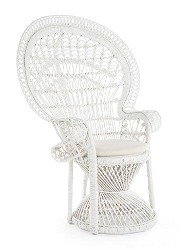 KOUBOO Pecock Grand Peacock Chair in Rattan with Seat Cushion, White, Large (In Rattan)