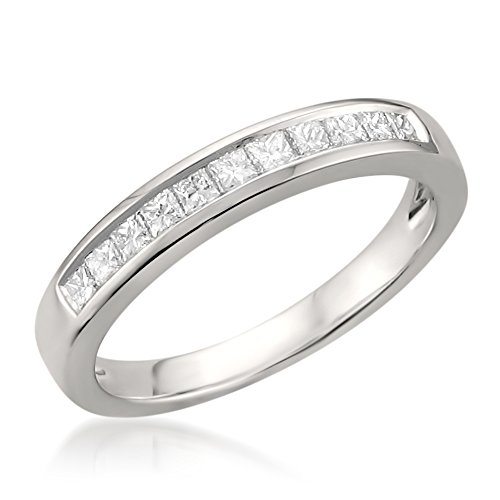 La4ve Diamonds Platinum Princess-Cut Diamond Bridal Wedding Band Ring (1/2 cttw, H-I, VS2-SI1), Size 8