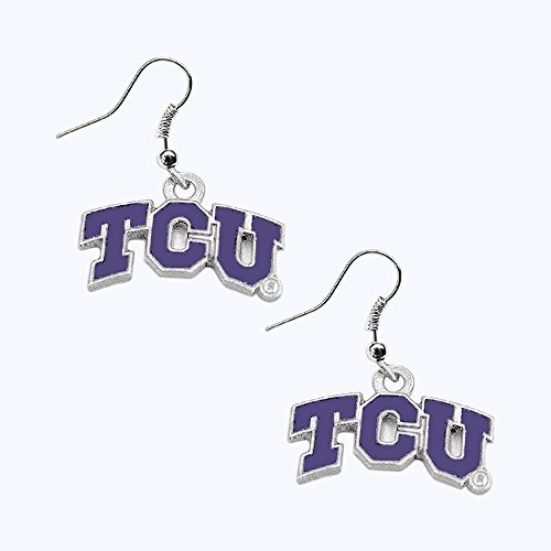 (aminco TCU Texas Christian Horned Frogs Dangle Logo Earring Set Ncaa Charm Gift)