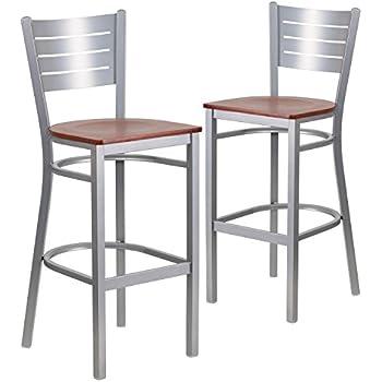 Flash Furniture 2 Pk. HERCULES Series Silver Slat Back Metal Restaurant  Barstool   Cherry Wood