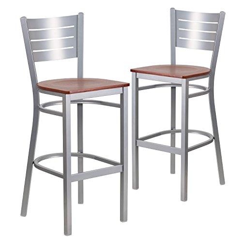 Wood Slat Seat - Flash Furniture 2 Pk. HERCULES Series Silver Slat Back Metal Restaurant Barstool - Cherry Wood Seat