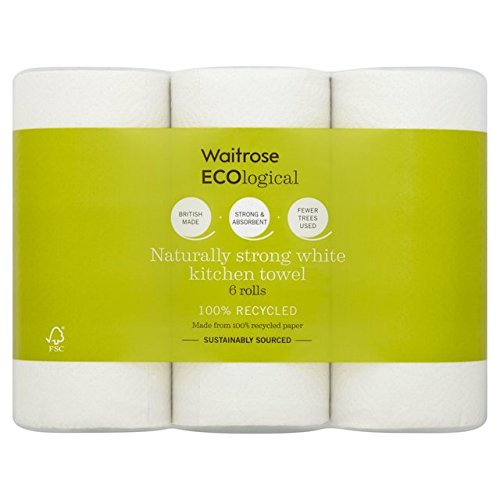 ECOlogical White Kitchen Towels Recycled Waitrose 6 per pack (Pack of 6) - パックごとのウェイトローズ6をリサイクル生態白いキッチンタオル x6 [並行輸入品] B071H9S9VX