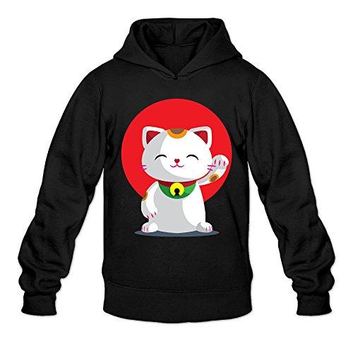 DVPHQ Men's Classic Maneki Neko Lucky Cat Sweater Size M Black (Ipod Classic Case Otterbox)