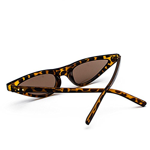 Skinny Small Shades Frame Sunglasses Sunglasses Women Eye Retro Triangle Cat Leopard 400UV Femal Narrow qnvfxwrq7