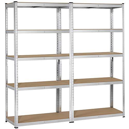 Yaheetech Heavy Duty Adjustable 5-Shelf Garage Shelving Storage Shelf Steel Shelving Units Utility Rack for Home/Office/Dormitory/Garage, 2 Packs