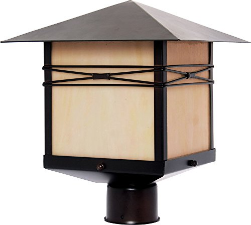Maxim 8044IRBU Taliesin 1-Light Outdoor Pole/Post Lantern, Burnished Finish, Iridescent Glass, MB Incandescent Incandescent Bulb , 100W Max., Dry Safety Rating, Standard Dimmable, Glass Shade Material, 5750 Rated Lumens For Sale
