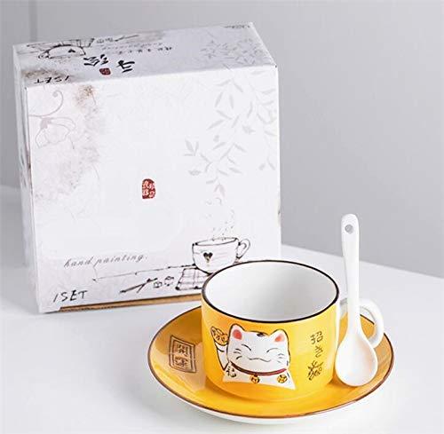 EatingBiting(R)5 Colors Handcraft Lucky Cat Maneki Neko Ceramic Tea Cups Mugs Dish Spoon 3PCs (yellow) from EatingBiting(R)
