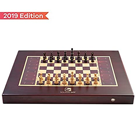 Square Off Chess Set - an Electronic Chessboard which Moves The Opponent's Wooden Chess Pieces on its Own. Kids or Adults can Play Against The AI or Any Online Chess Player Across The Globe