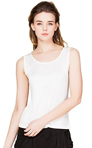 Colorful Silk Women's Pure Silk Chemises Slip Double Knit Fabric White (Women Silk Knit)