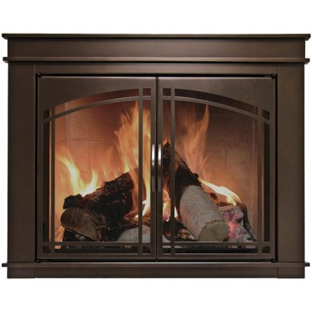 Pleasant Hearth Farlane Cabinet Prairie Arch Style Fireplace Glass Door, Oil Rubbed Bronze, Small, FA-5700 (Glass Fire Prairie)