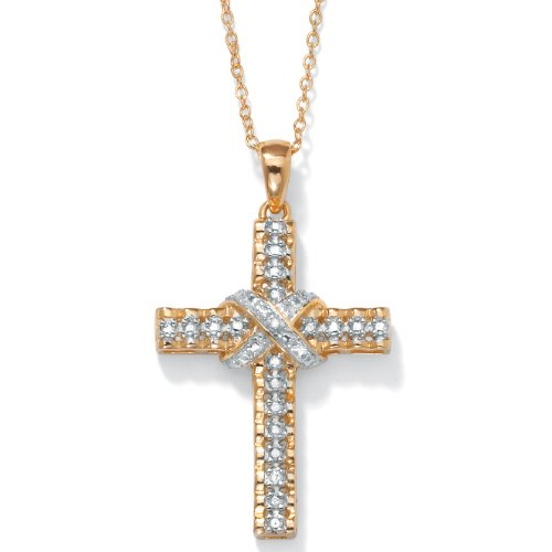 Gold Over Silver Cross (White Diamond Accent 18k Gold over .925 Silver Religious Cross Pendant Necklace 18