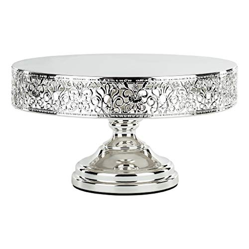 Amalfi Decor Silver Plated 12 Inch Metal Cake Stand, Shiny Gloss Metallic Round Wedding Birthday Party Dessert Cupcake Pedestal ()