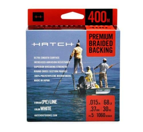 Hatch Outdoors Premium Braided Fly Line Backing - White - 400 Meters (Hatch Fishing Fly)