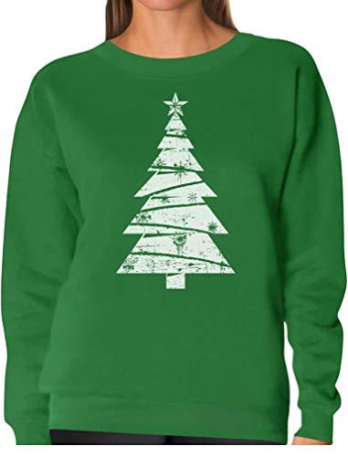 Big White Distressed Christmas Tree - Xmas Gift Idea Women Sweatshirt