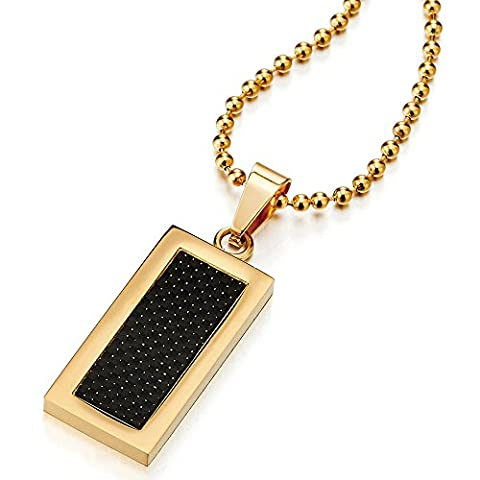 Stainless Steel Mens Gold Color Dog Tag Pendant Necklace with Carbon Fiber, 23.6 inches Ball Chain - Stainless Dog Tag Fashion Necklace