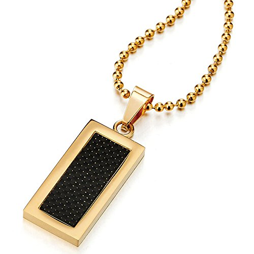 COOLSTEELANDBEYOND Stainless Steel Mens Gold Color Dog Tag Pendant Necklace with Carbon Fiber, 23.6 inches Ball Chain