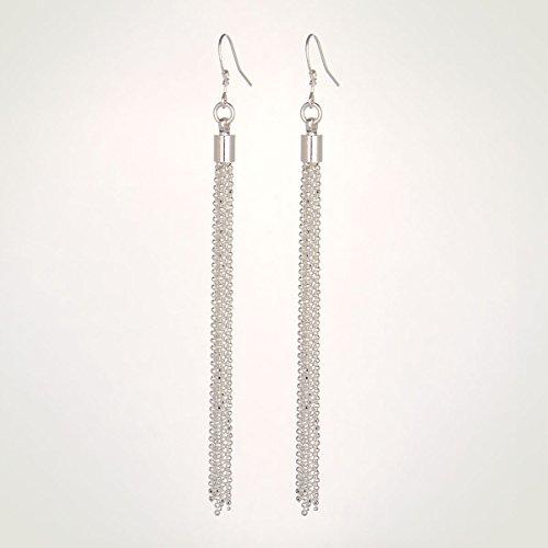LLNF Sterling Silver Earrings Linear Tassel Silver Plated Long Hook Dangle Earrings For Women 2015 (Ball tassels)