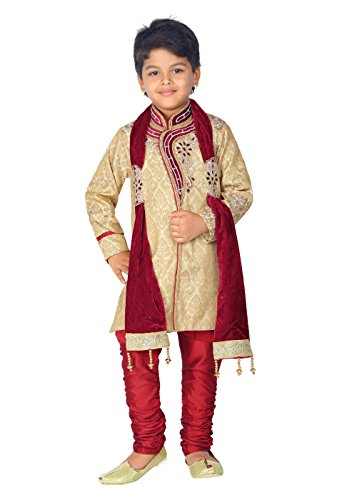 Ahhaaaa Kids Ethnic Indian Handwork Sherwani and Breeches Set With Dupatta Set for Boys