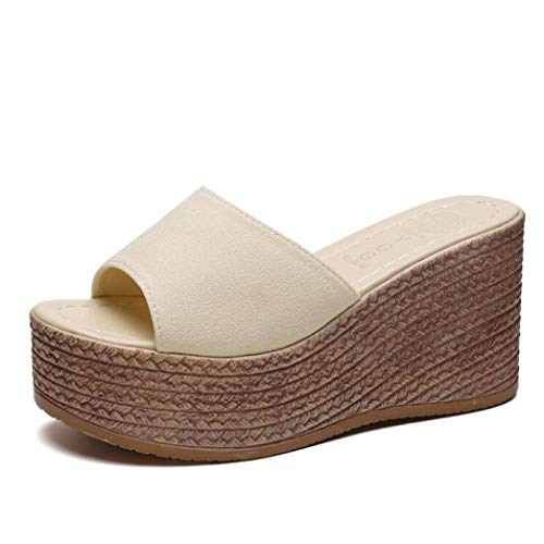 ChyJoey Women's Chunky Platform Wedge Sandals Slip On Suede Open Toe Summer Casual High Heel Slides Sandal Beige