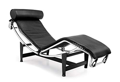 Rabinyod Bulan Le Corbusier Style Chaise in Genuine Black Top Grain Leather
