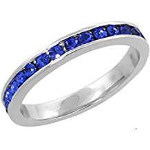 """Sterling Silver Stackable Eternity Band, September Birthstone, Sapphire Crystals, 1/8"""" (3 mm) wide"""