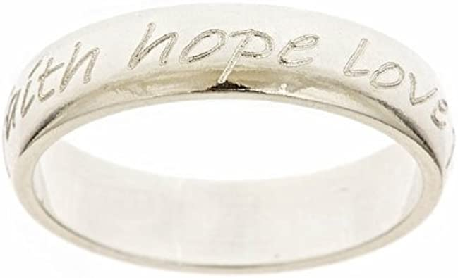 2 pcs Antiqued Silver Faith Hope Love Rings